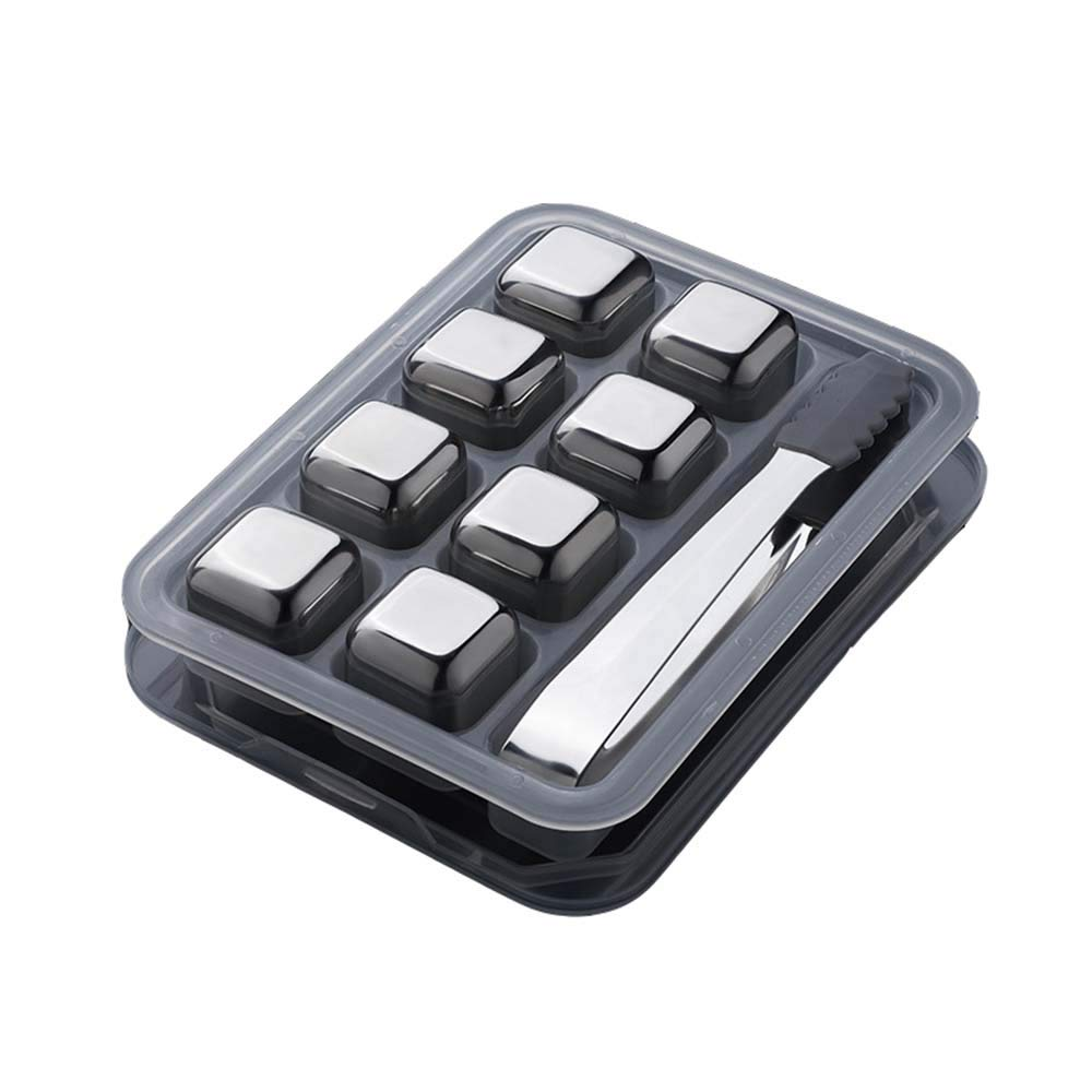 Second Sunny Stainless Steel Ice Cubes Set Reusable of 8 Cooling Cubes Chilling Rocks with Tong for Whiskey Vodka Wine Beer and All Drinks with Ice Tongs,Style3 by Second Sunny