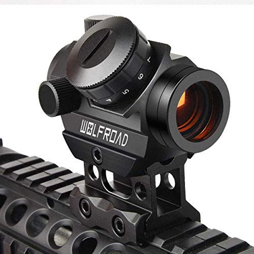 Wolfroad 2MOA Micro Red Dot Sight 1x25mm Reflex Sight Waterproof & Shockproof & Fog-Proof Red Dot Scope, Mini Rifle Scope with 1 inch Riser Mount, Black (9 Moa Amber Dot)