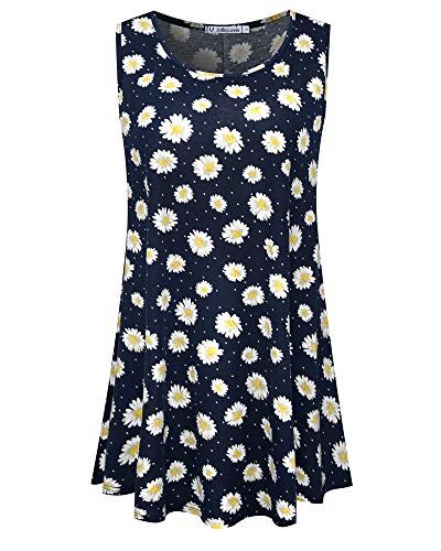(JollieLovin Womens Sleeveless Comfy Plus Size Tunic Tank Top with Flare Hem (3X (US 22 and Above), 3-Navy Blue))