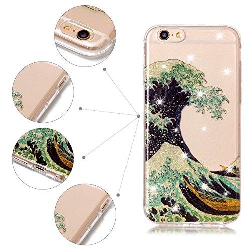 Funda iPhone 6 / 6S, iPhone 6 Funda Silicona, SpiritSun Soft Carcasa Funda para iPhone 6 / 6S (4.7 pulgadas) Trasparente Carcasa Case Cristal Gel Protectora Carcasa Ultra Delgado y Ligero Flexible TPU Olas