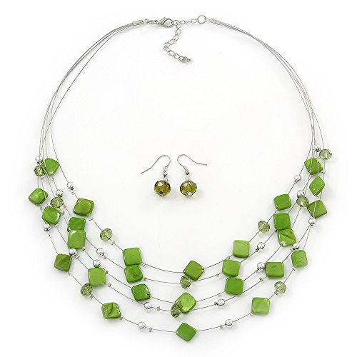 Shell And Bead Drop Necklace (Lime Green Square Shell & Crystal Floating Bead Necklace & Drop Earring Set - 52cm Length/ 6cm extension)