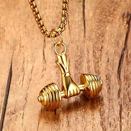 Metal Color: PN717G Davitu Mens Necklaces in Gold Stainless Steel Fitness Weight Lifting Barbell Dumbbell Pendant Necklace Boy Men Bodybuilding Jewelry