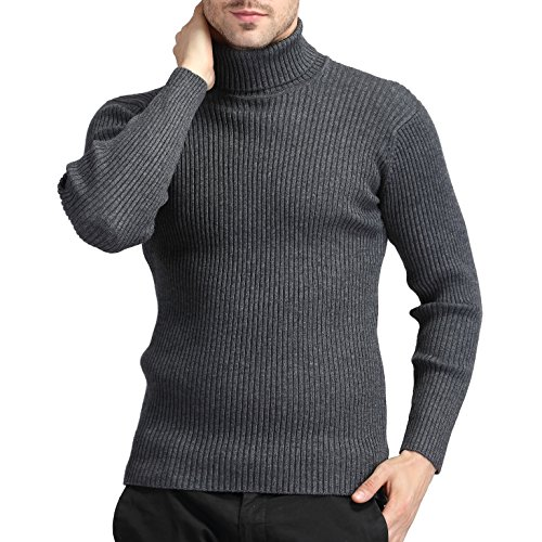 (Jiuhila Mens Casual Wool Cashmere Knitted Sweater Long Sleeve Turtleneck Pullover Tops (Large, Gray))
