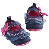 Babies Kids Dollar Shoes Best Deals - MuxikaNewborn Baby Bowknot Denim Toddler Princess First Walkers Girls Kid Shoes (Age:0~6 Month, Blue)