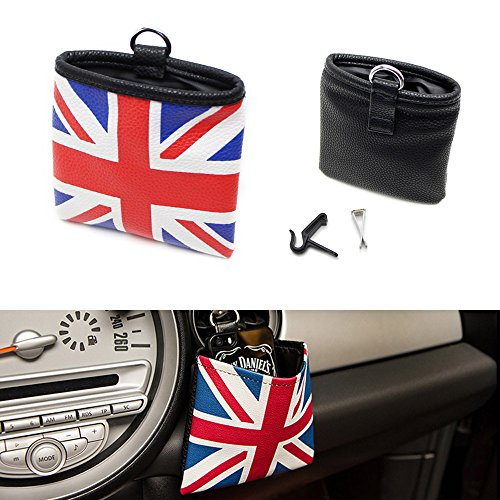 iJDMTOY (1) Red/Blue Union Jack UK Flag Style Air Vent Hanging Organize Bag For Smartphone, Drinks, Sunglasses, etc