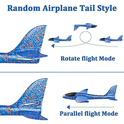 O-Toys 4 Pack Airplane Toy for Kids Throwing Foam Plane Set Large Indoor Outdoor Flying Toy for Boys Girls - Throw Planes Playing on Garden Beach Park (19 Inch): Toys & Games