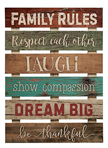 P. GRAHAM DUNN Family Rules Respect Laugh Dream 17 x 24 Inch Solid Pine Wood Skid Wall Plaque Sign