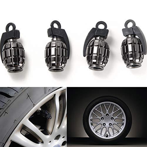 Xotic Tech Tire Wheel Valve Stem Air Dust Cover Caps Set Gray Metal Grenade Bomb