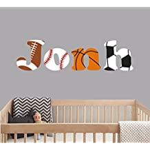 """Custom Name Sports Balls - Baby Boy - Nursery Wall Decal For Baby Room Decorations - Mural Wall Decal Sticker For Home Children's Bedroom (J153) (Wide 40""""x11"""" Height)"""