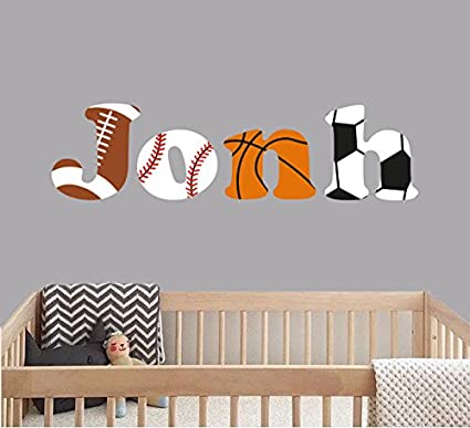 Amazon Com Custom Name Sports Balls Baby Boy Nursery Wall Decal