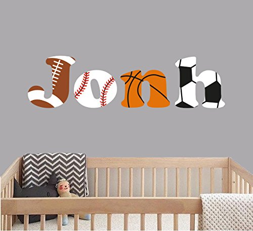 Boys Room Sports Decor - Custom Name Sports Balls - Baby Boy - Nursery Wall Decal For Baby Room Decorations - Mural Wall Decal Sticker For Home Children's Bedroom (J153) (Wide 40