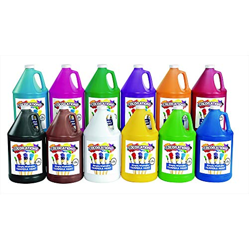 - Colorations Washable Tempera Paint, Gallon Size, Set of 12 Colors, Non Toxic, Vibrant, Bold, Kids Paint, Craft, Hobby, Fun, Art Supplies, Paint Set