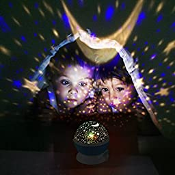 Constellation Night Light Projector Lamp from Peachy Nights offers 4 Bright Colors with 360 Degree Moon Star Projection and Rotation - Kids Baby Bedroom Nursery Decor, Great Gift Idea (Blue)