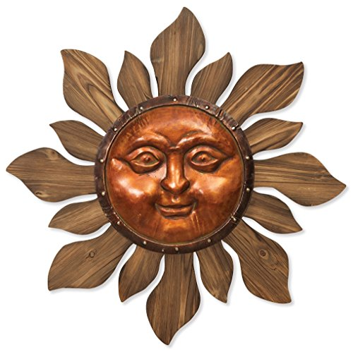 Premium LARGE 27'' Beautiful Garden Sun Face Outdoor Patio Wall Hanging with Copper Face (27'' Metal Face and Wood Rays) by Gerson