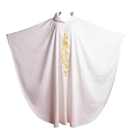 BLESSUME White Catholic Church Vestments Lamb of God Embroidered Priest  Chasuble Robe