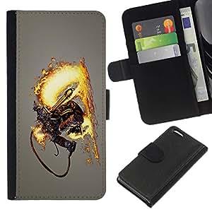 All Phone Most Case / Oferta Especial Cáscara Funda de cuero Monedero Cubierta de proteccion Caso / Wallet Case for Apple Iphone 5C // Flamethrower Skeleton Warrior