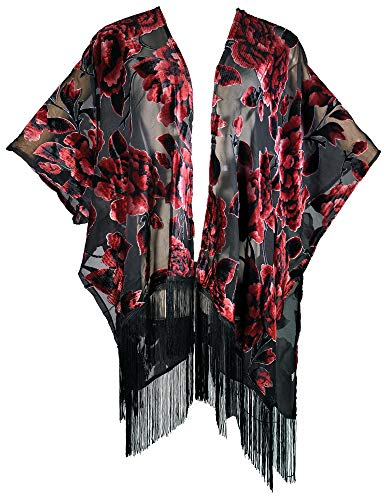 Amazing Grace Elephant Co Women's Vintage Burnout Velvet Kimono Cardigan Floral Series (Mystery -
