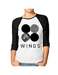 Womens BTS WINGS Bangtan Boys 3/4 Sleeve Raglan Shirts Funny Plain Raglan Tops