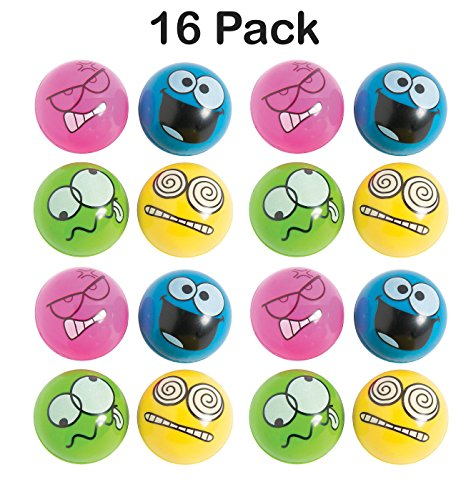 Kids Silly Rubber - Rubber Emotion Bouncing Balls 1.75 Inches - Pack Of 16 – Assorted Colors Cool Silly Face Bounce Balls – For Kids Great Party Favors, Bag Stuffers, Gift, Prize, Piñata Fillers - By Kidsco
