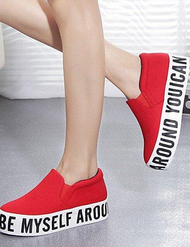 mujer black cn39 Moda eu39 Cuña Tacón us8 us6 Cuñas eu39 Exterior la Comfort red Punta de red Sneakers Punta cn39 ZQ uk6 Zapatos Cerrada Tela uk6 cn36 eu36 uk4 Casual Redonda a Negro us8 qC6ExwxFft