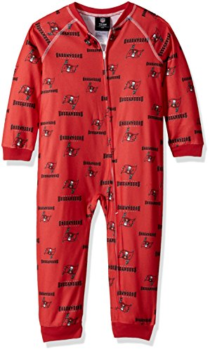 Youth Micro Poly Pant - NFL Toddler Zip Up Coverall-Red-2T, Tampa Bay Buccaneers