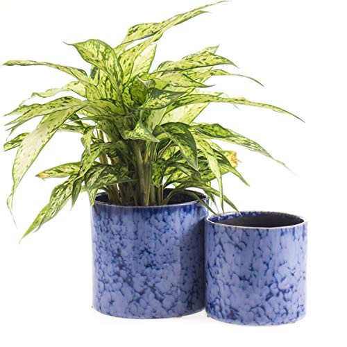 KYY Ceramic Planters Garden Flower Pots with Drainage Hole 5.5″ and 4.5″ Modern Plant Pot Indoor Outdoor Set of 2 (Blue)