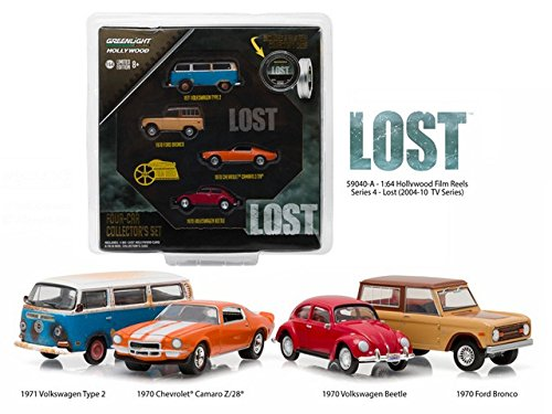 New 1:64 HOLLYWOOD FILM REELS LOST (TV SERIES) FOUR-CAR COLLECTOR'S SET Diecast Model Car By Greenlight Set of 4 (Diecast Collector Set)