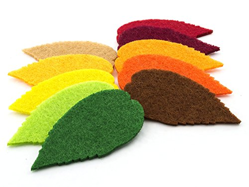 (Summer-Ray 100pcs felt leaves laser cutout embellishment in 10 colors - Color Set)
