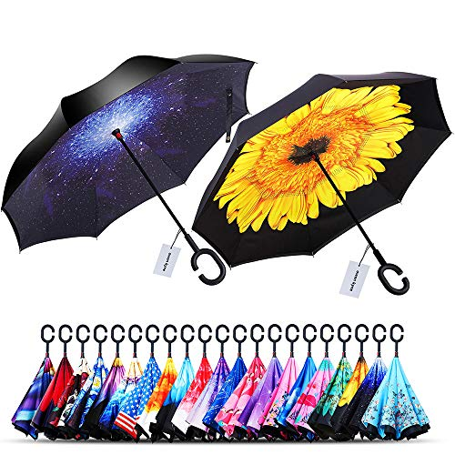 Control Handle Double (Owen Kyne 2 Pack Windproof Double Layer Folding Inverted Umbrella, Self Stand Upside-Down Rain Protection Car Reverse Umbrellas (Starry Sky+Sunflower))