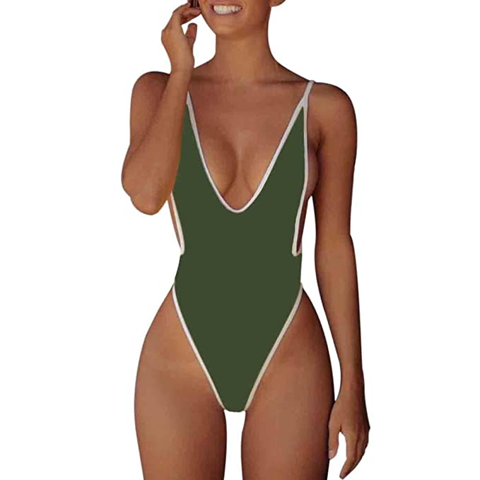7ad42f5ccf23d HELIDA Women Thin Straps Low Cut Sides High Leg One Piece Monokini Bathing  Suits Green S