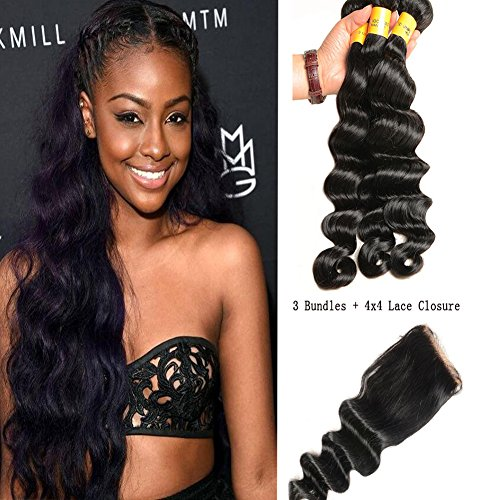 XCCOCO Hair 4Packs 8A Grade Top Quality Deep Wave Human Hair 3Bunldes With 4X4 Lace Closure Free Part Silk Lace Frontal and bundles(1B Off Black,16