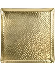 Red Co. 11.25 inch Square Large Gilded Aluminum Hammered Decorative Serving Tray