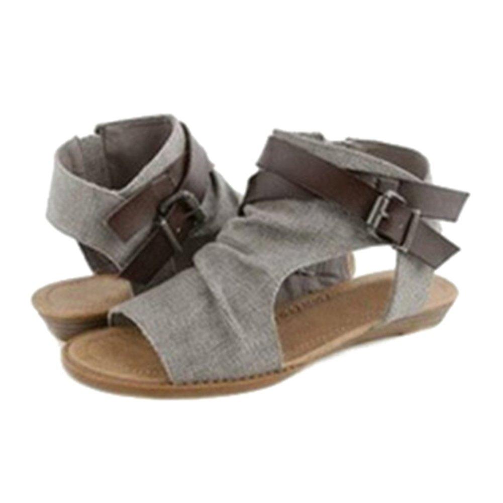 Highdas Mujer Sandalias Zapatos Peep Toe Romano Sandalias Plano Verano Fiesta Al Aire Libre Sandalias T180314S7