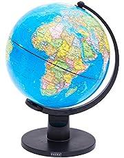Exerz World Globe Globo (Dia 20cm)/ Globo terráqueo - en Inglés - Decoración de Escritorio educativa / geográfica / Moderna - con una Base de Metal