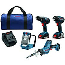 Bosch CLPK496A-181 18V 4-Tool Combo Kit with Compact Tough Drill/Driver, Impact Driver, Compact Reciprocating Saw, LED Work Light