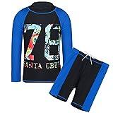 HUAANIUE Boys Scrawl Black Swimsuit 5-14Y Two Piece Swimming set LongSleeve Rash Guard Boysuit Costume 11-12Y Black