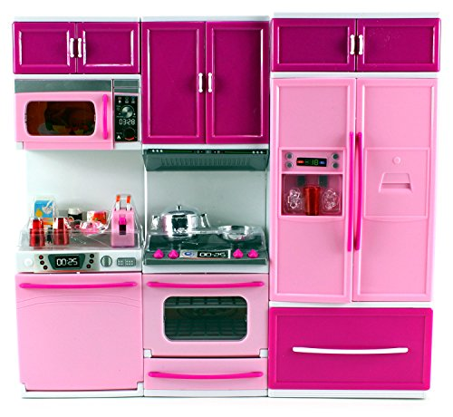 Oven Corp Trading (My Happy Kitchen Dishwasher Oven Refrigerator Battery Operated Toy Doll Kitchen Playset w/Lights, Sounds, Perfect for Use with 11-12 Tall Dolls)