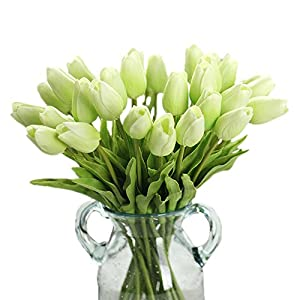 Keebgyy 30 Pcs Artificial Tulip, Artificial Flower Bouquet Silk Fake Flower for Wedding Holiday Bridal Bouquet Home Party Garden Craft Decor 25