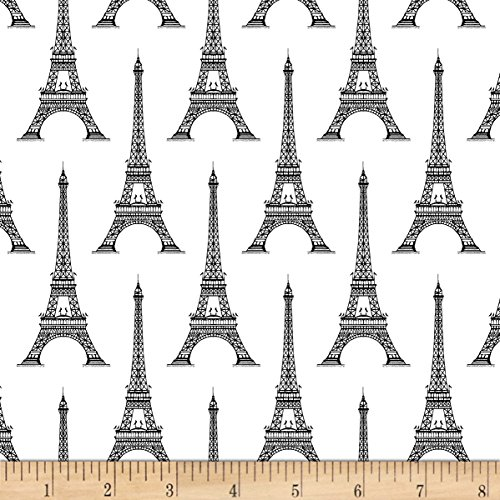Windham Fabrics Love from Paris Eiffel Tower White Fabric by The ()