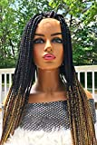 2Chique Boutique Women's Handmade Box Braid Wig with Baby Hair and 4 x 4 Closure Ombre Color 1b/27/30/39J, 34""