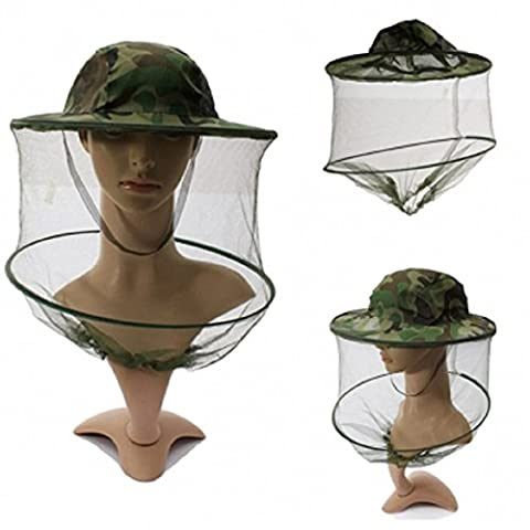 GTI Camouflage Mosquito Hat Mesh Women Men Midge Insect Bucket Fishing Cap (Realtree Camo Rebel Flag)