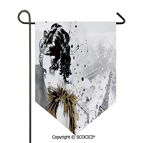 SCOCICI Easy Clean Durable Charming 12x18.5in Garden Flag Posing Fashion Model Girl with Feathers and Dots Paris Eiffel Contemporary Art,Grey White Double Sided Printed,Flag Pole NOT Included
