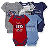 Lucky Brand Baby Boys' 5 Pack Bodysuits, Vanilla/Red/Navy/BLYE/Grey, 6-9 Months