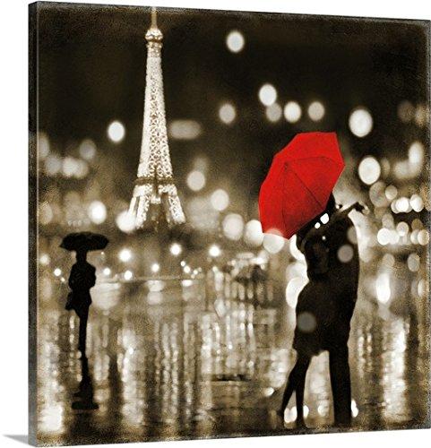 Kate Carrigan Premium Thick-Wrap Canvas Wall Art Print entitled A Paris Kiss (Paris Kiss)