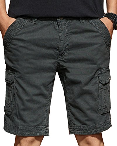 TRENSOM Men's Casual Loose Fit Cargo Shorts, Straight Multi-Pocket Cotton Outdoor Wear Upgrade Gray Size 29 ()