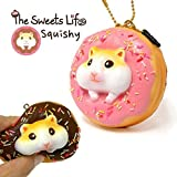 The Sweet Life Series Squishy Soft Kawaii Donuts Bread Bun Squishy Toys Stress Ball, Ball Chain (Golden Hamster / Strawberry Iced Plain Donut)