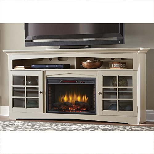 Avondale Grove 70 in. Media Console Infrared Electric Fireplace in Aged White (Consoles Tv Tv For Inch 70)