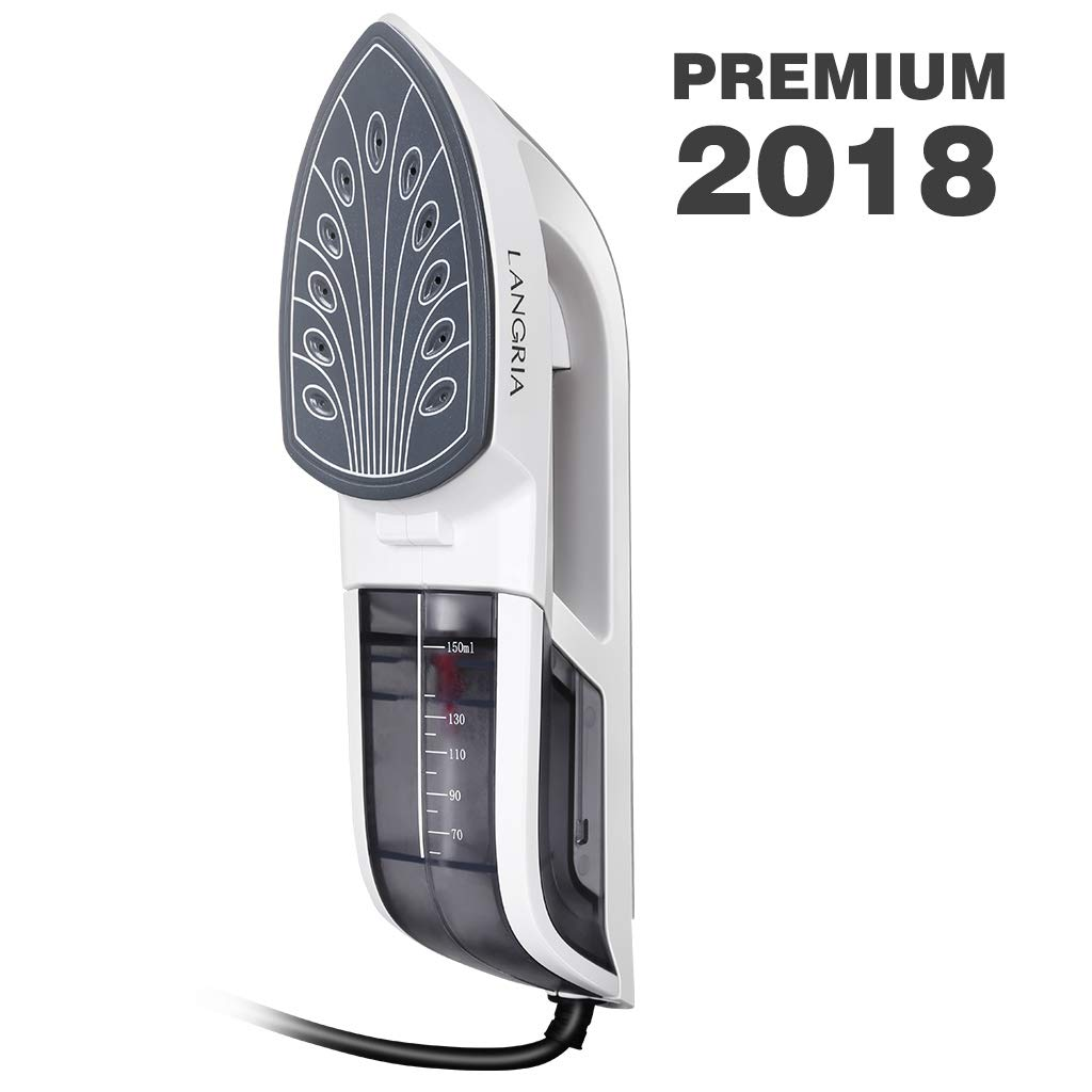 LANGRIA Iron Garment Steamer Upgrade,60s Fast Preheat,Removable Water Tank,2 in 1 Handheld Flat Ironing and Vertical Steaming,Portable for Home and Travel Use with Carrying Case(White)