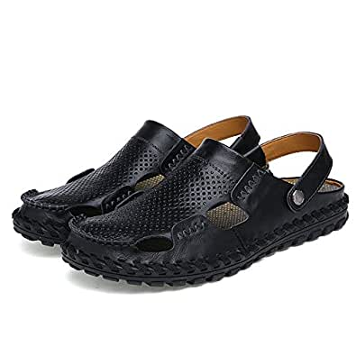 Xujw-shoes, 2018 Men's Genuine Leather Beach Slippers Breathable Summber Sandals (Color : Black, Size : 5.5 UK)