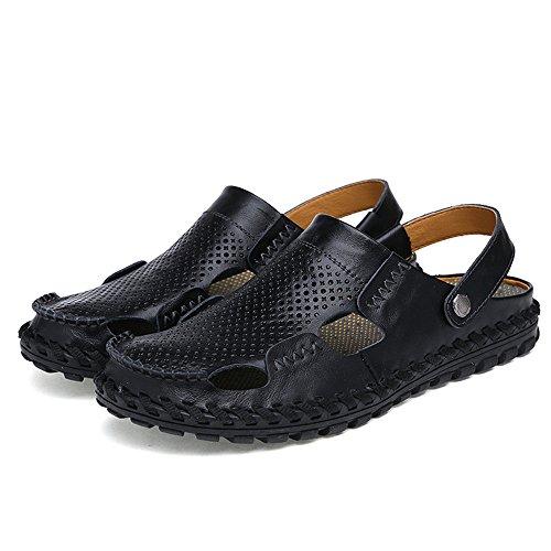 spiaggia cornice vera escursionismo toe scarpe pelle piatto regolabile in morbido Da 5 Wenquanshoes chiuso antiscivolo Nero estate UK uomo esterni Blue per uomo sandali 5 in da casual sandali 0wB6g